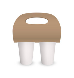 coffee cup takeaway pack holder mockup 3d vector image