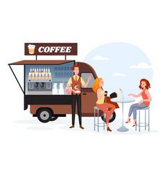 coffee street market truck van car stall vector image