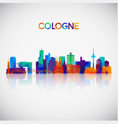 cologne skyline silhouette in colorful geometric vector image