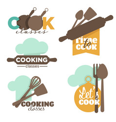 cooking classes or school kitchenware and cutlery vector image