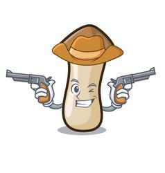 Cowboy pleurotus erynggi mushroom character vector