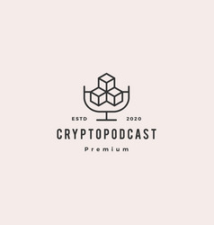 crypto podcast logo hipster retro vintage icon vector image