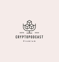 crypto podcast logo hipster retro vintage icon vector image