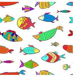 Cute pattern with colorful cartoon aquarium fishes vector