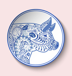 Decorative plate with blue patterned head of a vector