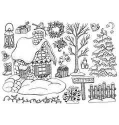 design set with christmas house 4 vector image