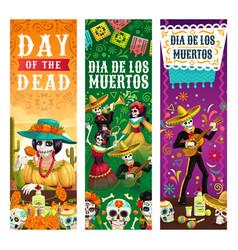 dia de los muertos skeletons skulls party fiesta vector image