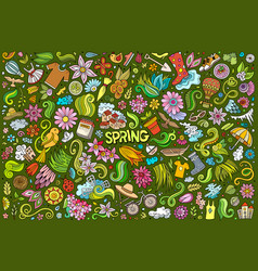 Doodle cartoon set spring objects and vector