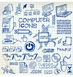 Doodle computer icons vector