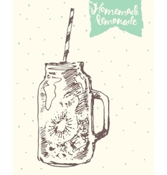 Drawn homemade lemonade sketch vector