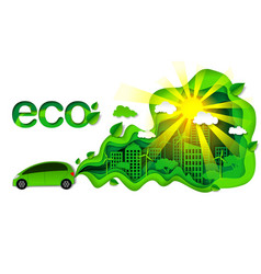Eco friendly car in modern vector