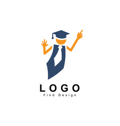 education logo people symbol and teacher template vector image