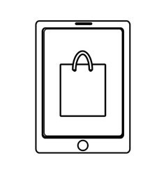 electronic device with shopping bag on the screen vector image
