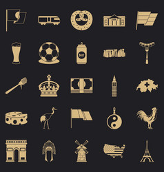 Exploring icons set simple style vector