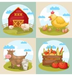 Farming Compositions Set vector