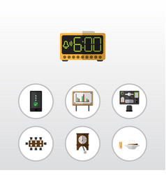 Flat icon life set of boardroom electric alarm vector