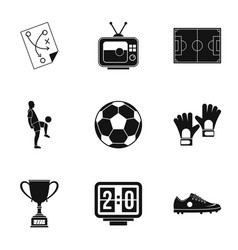 Football icons set simple style vector