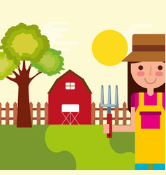 girl gardener farm vector image
