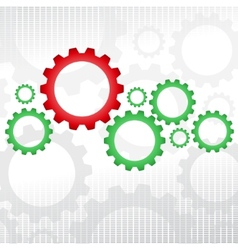 Green and red gears vector image