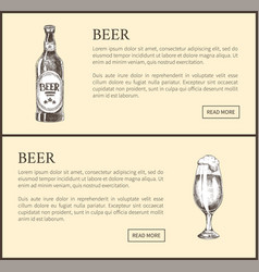 hand drawn beer bottle and glass landing page vector image