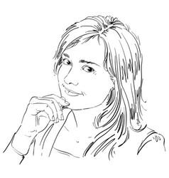 Hand-drawn of beautiful romantic loving woman vector