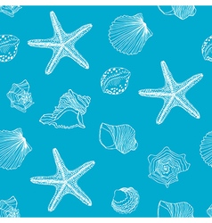 Hand drawn Shells seamless pattern vector image