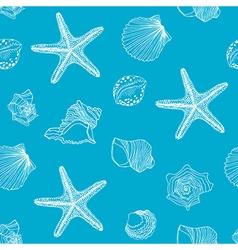 Hand drawn Shells seamless pattern vector image vector image