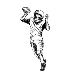 Hand sketch player of american football vector