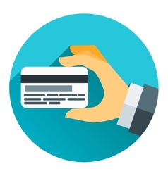Hands holding bank cards in flat design style vector image