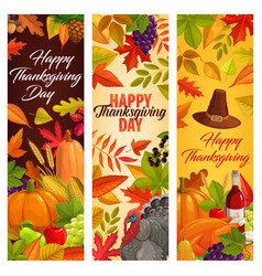 happy thanksgiving banners with harvest vector image
