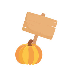 happy thanksgiving day wooden sign and pumpkin vector image