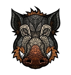 head boar mascot color in mosaic style vector image
