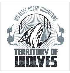 Howling Wolf emblem - dangerous territory vector
