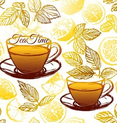 Ink hand drawn herbal tea with lemon pattern vector
