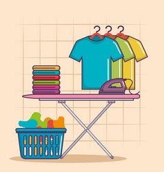 Ironing board and clothes iron basket of house vector
