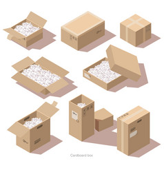 isometric cardboard package boxes with filler vector image