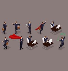 Isometric entrepreneurs different scenes working vector