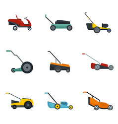 Lawnmower grass garden icons set flat style vector