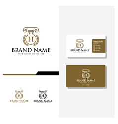 Letter h aw logo design and business card vector