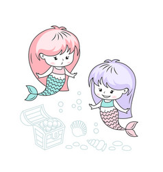 little mermaids with treasures cartoon vector image