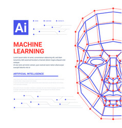 machine learning system web template human face vector image