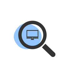 magnifying glass looking for a computer isolated vector image