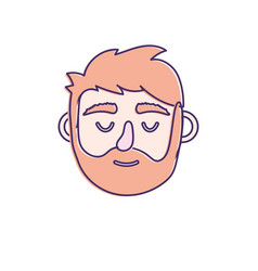 man head with closed eyes and hairstyle vector image
