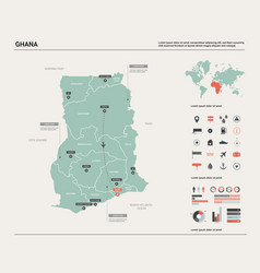 Map ghana high detailed country vector