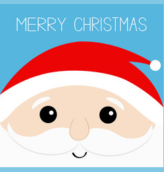 Merry christmas santa claus head face beard vector
