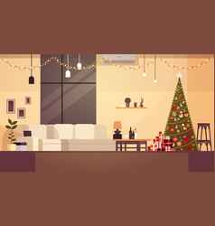 modern living room decorated for christmas and new vector image