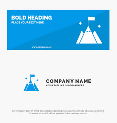 Mountain flag user interface solid icon website vector
