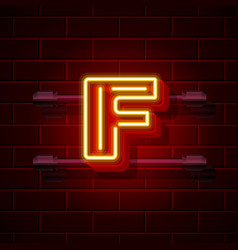 Neon city font letter f signboard vector