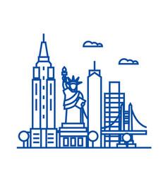new york usa line icon concept new york usa flat vector image