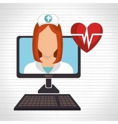 nurse computer service health vector image